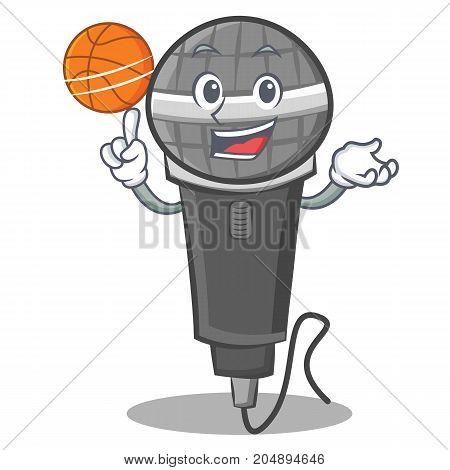 Playing basketball microphone cartoon character design vector illustration