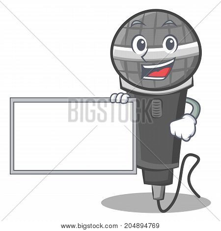 With board microphone cartoon character design vector illustration