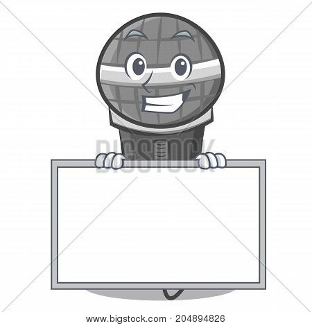 Grinning with board microphone cartoon character design vector illustration