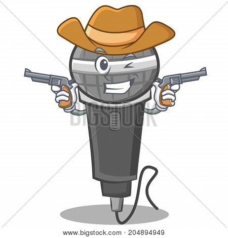 Cowboy microphone cartoon character design vector illustration