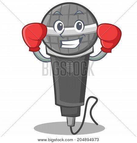 Boxing microphone cartoon character design vector illustration