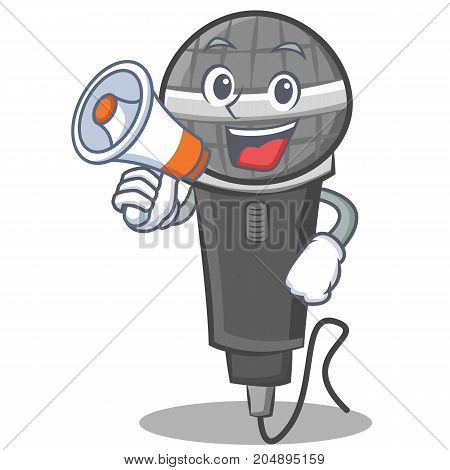 With megaphone microphone cartoon character design vector illustration