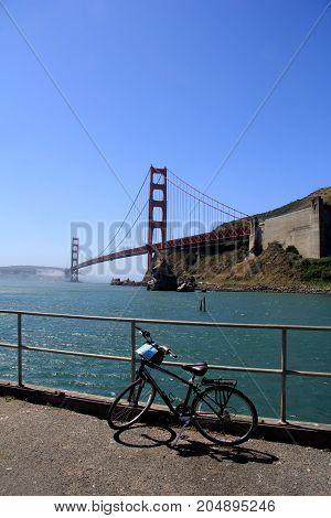 Bike Parked Bisides Golden Gate Bridge, San Francisco, California, Usa