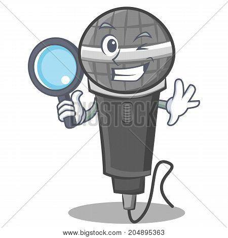 Detective microphone cartoon character design vector illustration