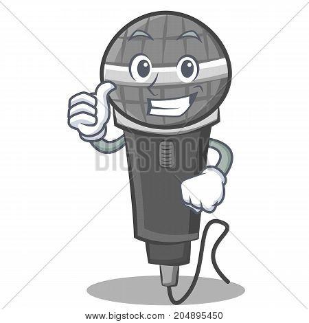 Thumbs up microphone cartoon character design vector illustration