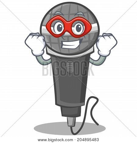 Super hero microphone cartoon character design vector illustration