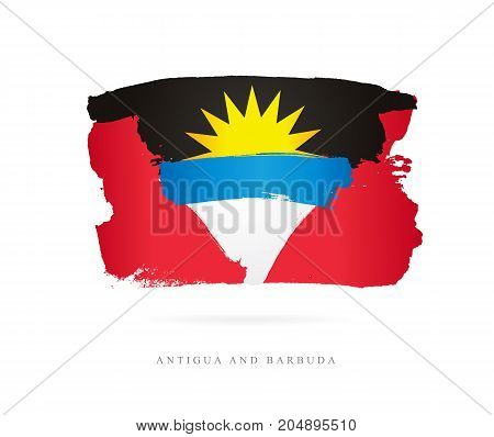 Flag of Antigua and Barbuda. Vector illustration on white background. Beautiful brush strokes. Abstract concept. Elements for design.