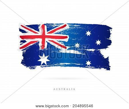 Flag of Australia. Vector illustration on white background. Beautiful brush strokes. Abstract concept. Elements for design.