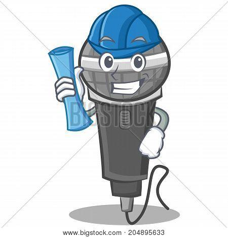 Architect microphone cartoon character design vector illustration