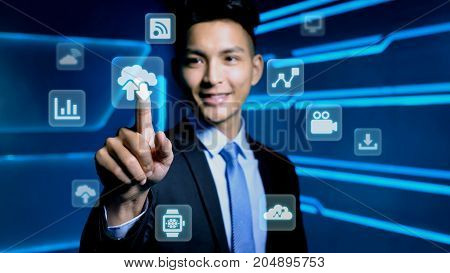 businessman touch cloud icon on blue background