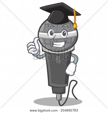 Graduation microphone cartoon character design vector illustration