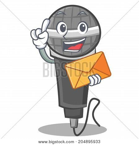 With envelope microphone cartoon character design vector illustration