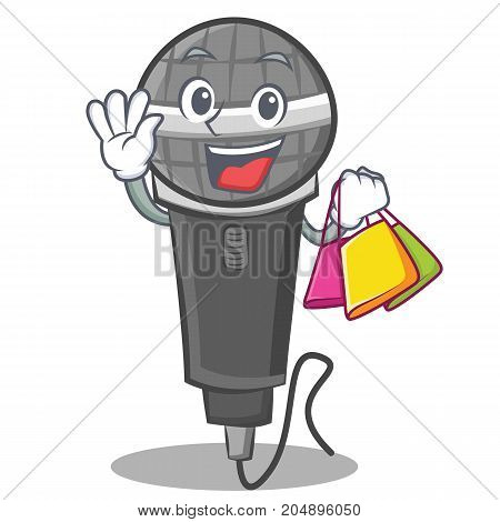 Shopping microphone cartoon character design vector illustration