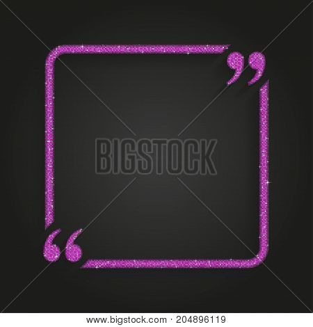 Pink Square Quote Blank Template. Pink Mosaic Sequins Glitter Sparkle. Bracket.