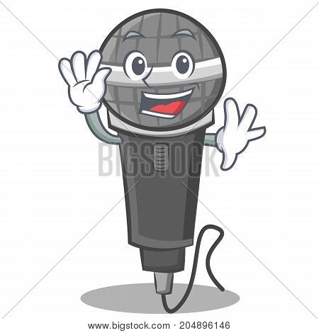 Waving microphone cartoon character design vector illustration