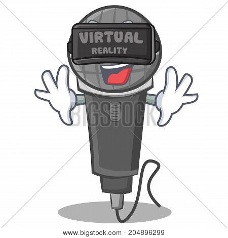 With virtual reality microphone cartoon character design vector illustration