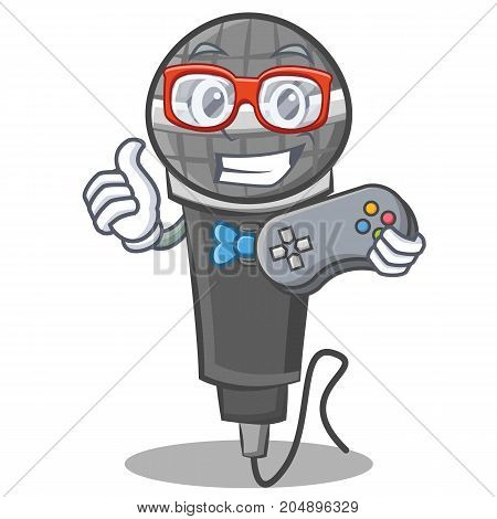 Gamer microphone cartoon character design vector illustration