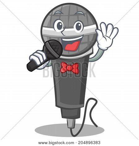 Singing microphone cartoon character design vector illustration