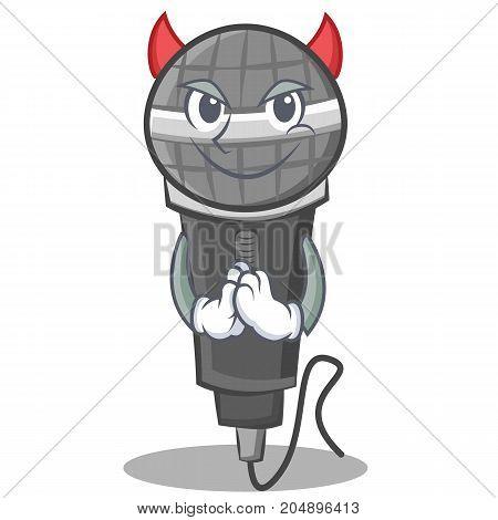 Devil microphone cartoon character design vector illustration