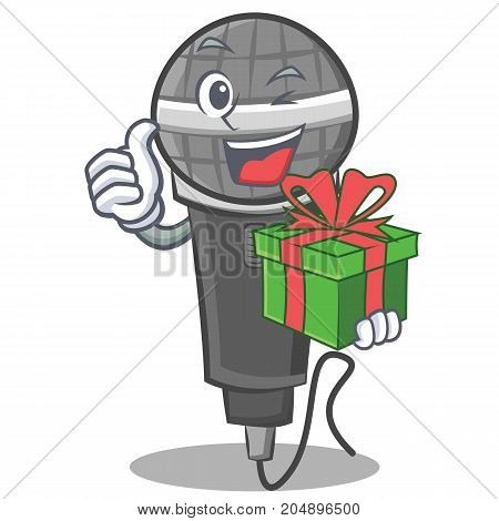 With gift microphone cartoon character design vector illustration