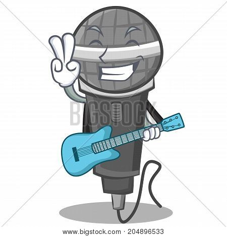 With guitar microphone cartoon character design vector illustration
