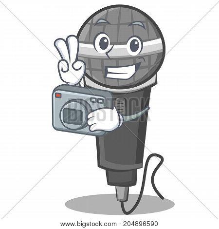 Photography microphone cartoon character design vector illustration