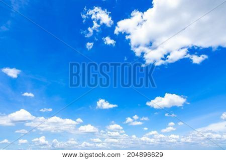 Blue sky with scattered clouds, Fantastic soft white clouds against blue sky