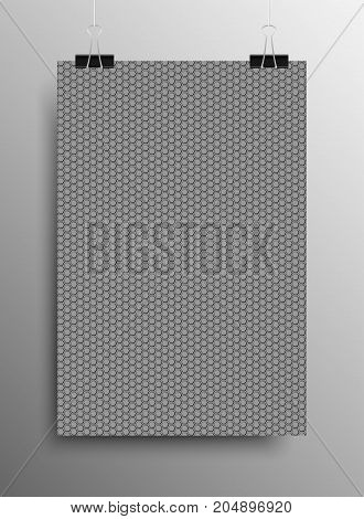 Vertical Poster Banner A4 Sized Vector Hanging With Paper Clips. Pattern Paper Volume Vertical Lines Notes. wallpaper, Pattern Fills, Web Page Background, Surface Textures. Grey Galousie.