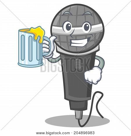 With juice microphone cartoon character design vector illustration