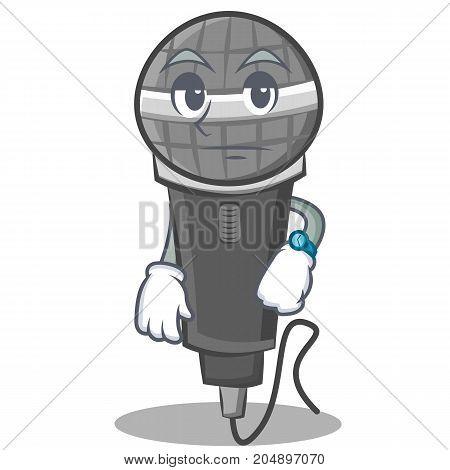 Waiting microphone cartoon character design vector illustration