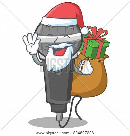 Santa with gift microphone cartoon character design vector illustration
