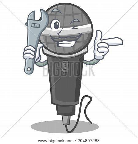 Mechanic microphone cartoon character design vector illustration