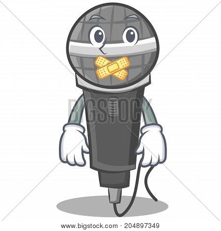 Silent microphone cartoon character design vector illustration