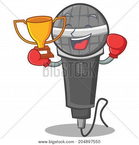Boxing winner microphone cartoon character design vector illustration