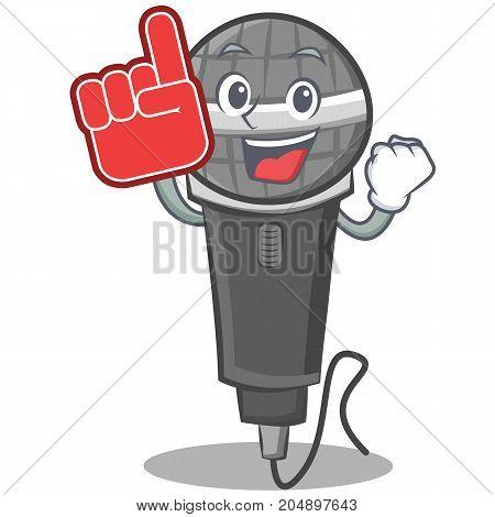 Foam finger microphone cartoon character design vector illustration