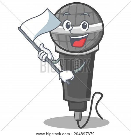 With flag microphone cartoon character design vector illustration