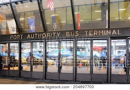 New York USA - 28 September 2016: The Port Authority Bus Terminal is the main gateway for interstate buses into Manhattan in New York City.