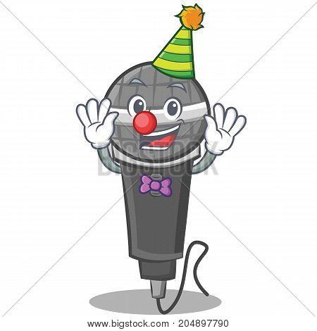 Clown microphone cartoon character design vector illustration
