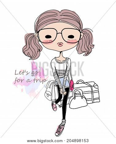 Illustration of a cute skecth fashion girl