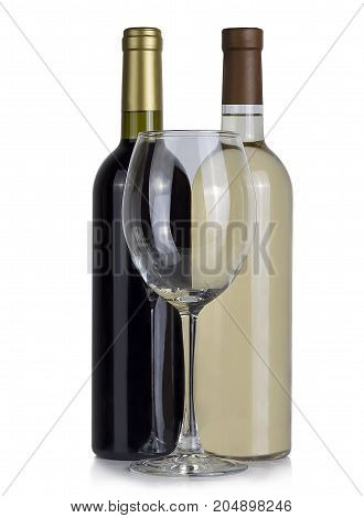 empty glass a full bottle of red and white wine
