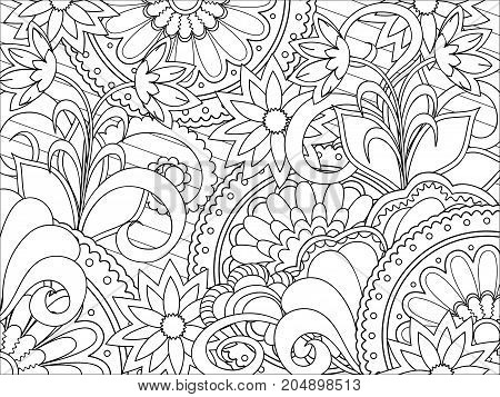 Hand drawn doodle pattern with flowers and mandalas for decorate girl shoes stationery case phone dishes porcelain ceramics adult antistress coloring book. eps 10