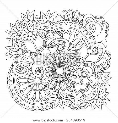 Hand drawn doodle composition with flowers and mandalas for greeting card clothes print decorate stationery case phone dishes porcelain ceramics adult antistress coloring book. eps 10