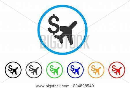 Aviation Business rounded icon. Style is a flat aviation business grey symbol inside light blue circle with black, gray, green, blue, red, orange variants.