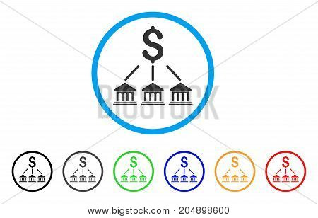 Bank Organization rounded icon. Style is a flat bank organization gray symbol inside light blue circle with black, gray, green, blue, red, orange variants.