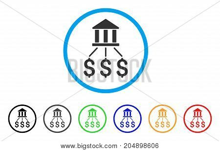 Bank Payments rounded icon. Style is a flat bank payments grey symbol inside light blue circle with black, gray, green, blue, red, orange color versions.