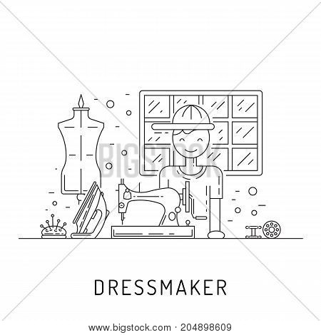 Tailor working at his workplace sews and repairs clothes. Vector illustration of a sewing workshop in a linear style.