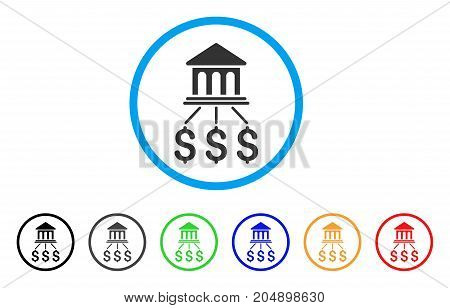 Bank Scheme rounded icon. Style is a flat bank scheme gray symbol inside light blue circle with black, gray, green, blue, red, orange variants. Vector designed for web and software interfaces.