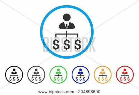 Boss Payments rounded icon. Style is a flat boss payments gray symbol inside light blue circle with black, gray, green, blue, red, orange variants. Vector designed for web and software interfaces.