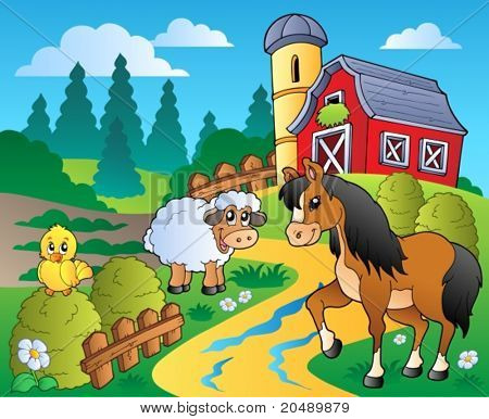 Country scene with red barn 2 - vector illustration.