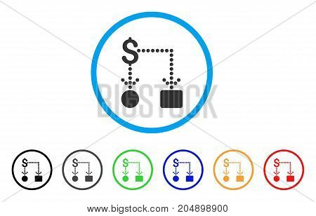 Cashflow rounded icon. Style is a flat cashflow grey symbol inside light blue circle with black, gray, green, blue, red, orange versions. Vector designed for web and software interfaces.